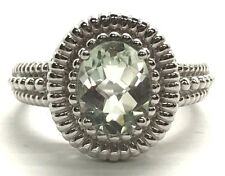 Sterling Silver 925 Oval Green Prasiolite Textured Cable Halo Band Cocktail Ring