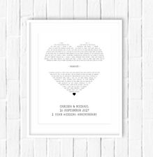 Personalised Song Words Lyrics Print - Wedding gift  / Anniversary Gift
