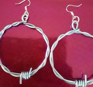 Handmade Steel Blue Aluminium Barb Wire Hoop Earrings