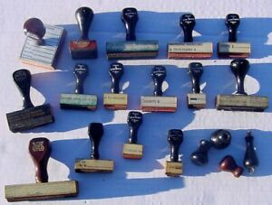 Lot of 15 Vtg 1930s-40s Office Business Rubber Ink Stamps w Wood Handles VGC
