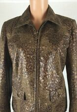 Alfred Dunner 8 P Faux Leather Suede Brown Animal Print Zip Jacket Blazer Coat ~