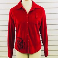Womens M Harley Davidson Shirt Red Stretch Corduroy Button Lion Crown Embroidery