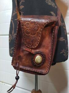 Vtg Handmade Brown Black Leather HAND-TOOLED Small Shoulder Tassel Purse Bag
