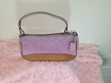 Coach handbag Purse Signature Pink Canvas and Leather Small light pink bag #6094
