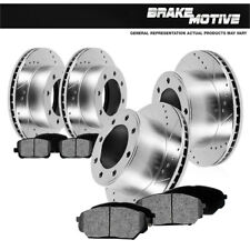 Front & Rear Drill Slot Brake Rotors And 8 Metallic Pads For Ford F250 F350 4WD