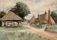 CLANFIELD VILLAGE HAMPSHIRE Antique Watercolour Painting 1941 - SIGNED