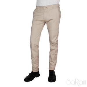 Pantaloni Uomo Beige Tinta Unita Tasca America Elegante Casual Cotone SARANI