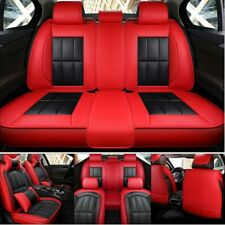 Auto 5-Seat PU Leather Car Seat Cover Protector Cushion W/4pcs Pillows Universal