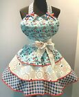 """Patriotic/Fireworks Hostess Full Apron """"AMERICAN GIRL"""" with 3 Flounced Layer NEW"""