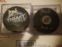 (Two )Jack Hughes Signed Pucks 2019 NHL # 1 Draft Pick & New Jersey Devils Auto.