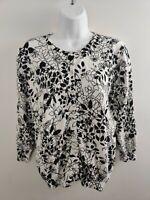 Women's J Crew Sweater Size M Medium Gray Black Long Sleeve Merino Wool Blend