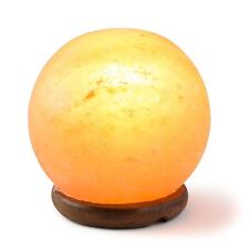 HemingWeigh Rock Salt Sphere Lamp 12 Cm with Wood Base, Electric Wire and Bulb