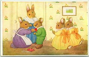 "Artist-Signed MARGARET TEMPEST Postcard Dressed Rabbits ""His First Suit"" Medici"