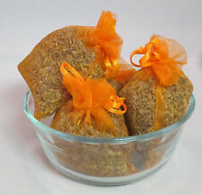 Set of 4 Lavender Sachets made with Orange Organza Bags