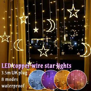 Twinkling Star Moon LED Curtain Lights Ramadan Eid Mubarak Fairy String Light UK