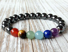 7 Root Chakras Healing Bracelet Wrist Mala Hematite Beads Balancing Yoga Jewelry