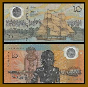 Australia 10 Dollars, 1988 P-49b Prefix AB No Date Cook's Ship Aboriginal (Cir)