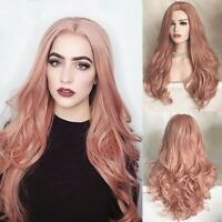 Women's Fashion Heat Resistant Synthetic Hair Wig Party Long Wavy Pink Full Wigs