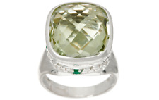 11.20 CCTW JMH JEWELLERY STERLING SILVER GREEN QUARTZ RING SIZE 6 QVC $139.50