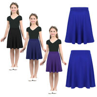 Girls Kids Pleated Party Full A-Line Midi Skater Skirt Party Stretch Waist Dress