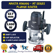 Makita M3600G 12.7mm 1/2inch Electric Plunge Router Corded 1650W Power MT Series