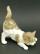 Lladro Spain Domestic Animals Light Brown White Playful Cat 5091 Figurine Figure