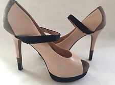 Jessica Simpson Heels High Size 8.5 Pink Black Gray LEATHER Strap 5 Inches Open
