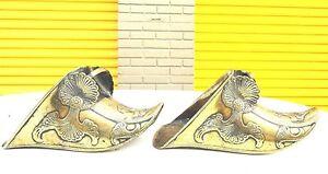 Brass horse stirrups Conquistador Style vintage Art deco  Ornamental pair shoes