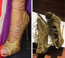 Tom Ford Gold Braided Woven Nappa Leather Tie Up Pumps