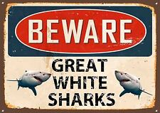 Beware Great White Sharks Metal Sign Vintage Style Wall House Door Beach Hut 498