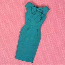 Vintage Barbie Clothes Pak Silk Sheath Dress Emerald Green 1962 HTF Tagged EXLNT