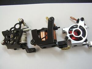 set of 3 tattoo machines  set as liner, colourer and shader,ready to work