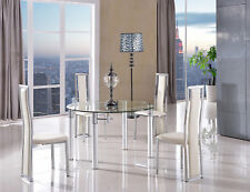 Torino Tempered Glass Aluminium Dining Room Table & 4 Black Elsa Leather Chairs Ivory