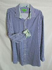 Bristol & Bull Shirt Blue Stripe Button Front Flip Cuff Paisley 4XL Cotton Big M