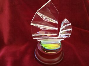 CRYSTAL CUT  GLASS SHIP PAPER WEIGHT