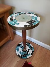 Early 70's Tiled Green White and Black Plant Stand