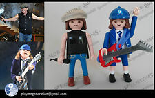 Playmobil custom AC DC ANGUS YOUNG AND BRIAN JOHNSON western, medieval...