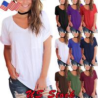 NEW Women Loose Tops Plain Short Sleeve Pocket T-shirt Boyfriend Look Tee Blouse
