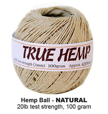 TRUE HEMP cord 430feet/ 130m 100gram Ball - NATURAL - 1mm 20lb  - Hemp Creation