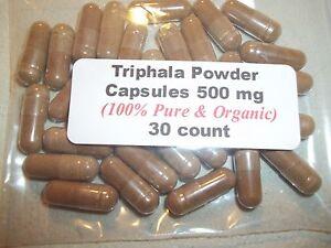 Triphala Powder Capsules (100% Pure & Organic) 500 mg - 30 Count
