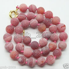 Handmade Natural 10mm Red Dream Fire Dragon Veins Agate Beads Necklace 18''