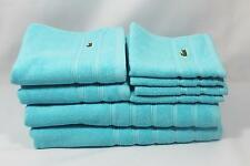 Lacoste Solid Turquoise Eight Piece Bathroom Towel Set Alligator Croc Logo New
