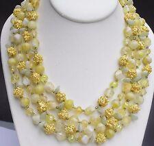 Vtg 1950's Plastic Sugar Bead Multi Strand Necklace Textured Hong Kong 4 String