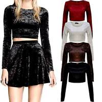 WOMEN LADIES VELVET LONG SLEEVE CROP TOP BLOUSE TOP DRESS SIZE 6,8-10,12-14,16