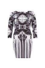 River Island White Grey Mirrored Floral Print Bodycon 3/4 Sleeve Dress BNWOT 12