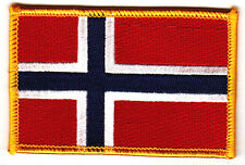 NORWAY FLAG w/GOLD BORDER/Iron On Patch Applique-Norwegian,Europe, National Flag