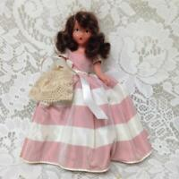 Vintage, 1930s 6.5in Nancy Ann Story Book Bisque Doll- Pink n White Gown