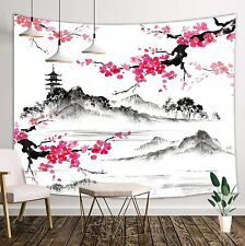 Japanese Tapestry, Anime Mount Fuji with Cherry Blossoms Sakura Flower Tapestry