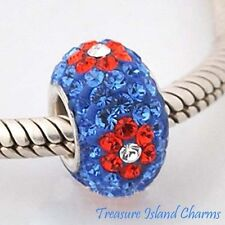 RED FLOWERS ON BLUE CZ CRYSTAL .925 Sterling Silver EUROPEAN EURO Bead Charm