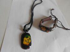 collier + Bracelet réglable rasta Bob Marley reggae Jamaïque en cuir et coton